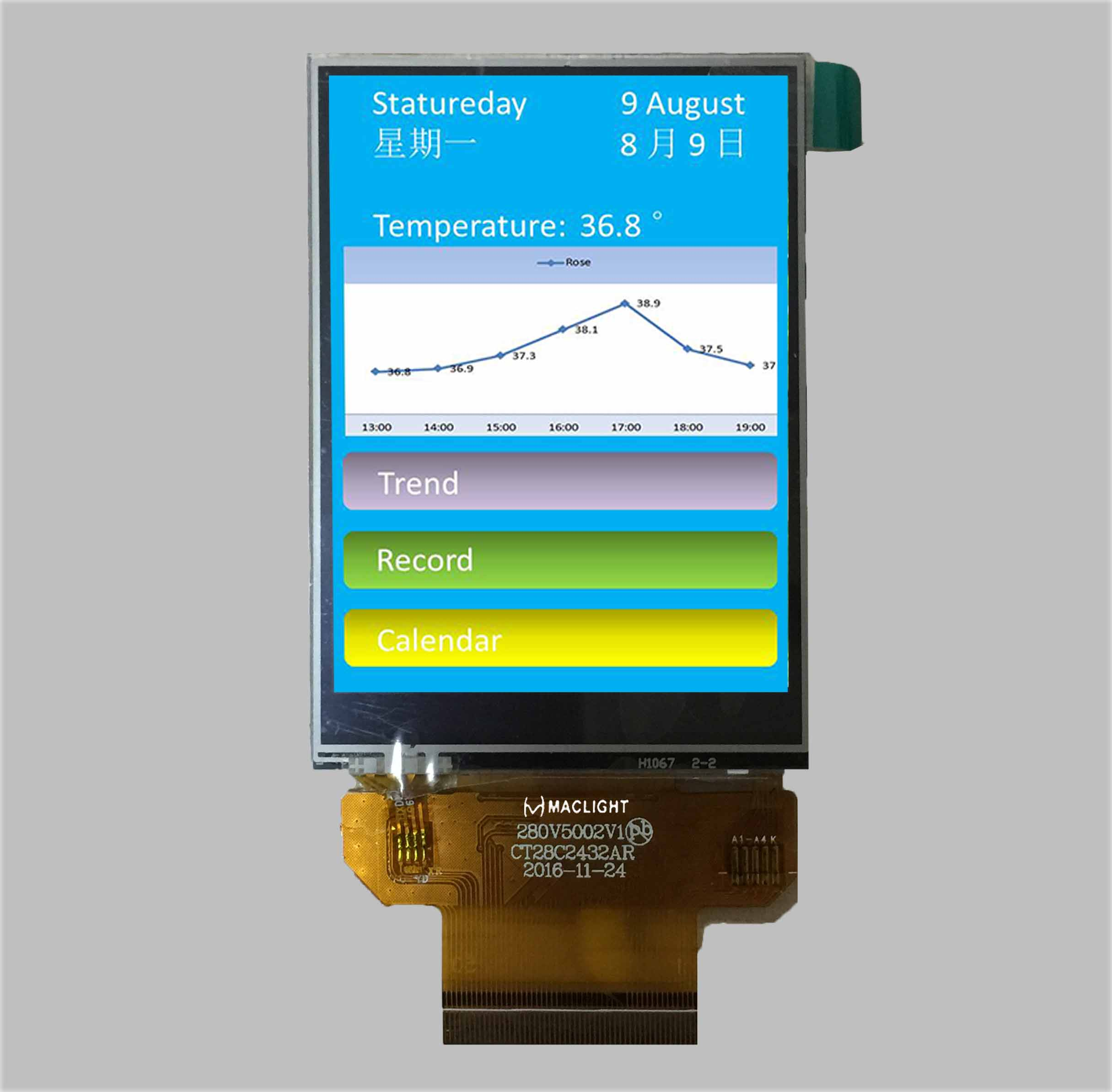 2.8 inch tft lcd resistive capacitive touch screen QVGA 240x320 dots SPI/MCU/RGB interface MLT028Q50-T13