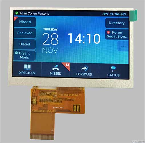 4.3 colour tft screen 480x272 300 nits brightness RGB interface MLT043R40-2