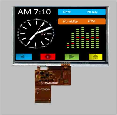Resistive touch screen 800X480 5 inch TFT