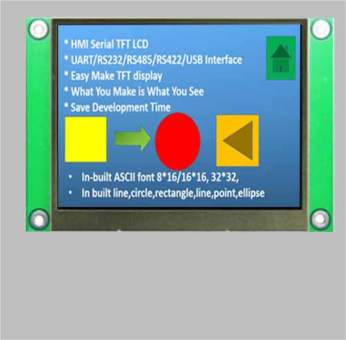 3 5 inch uart tft lcd serial tft display RS232