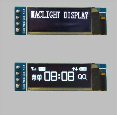 0.91 inch oled display module I2C interface 128x32 pixels MLD091-12832D