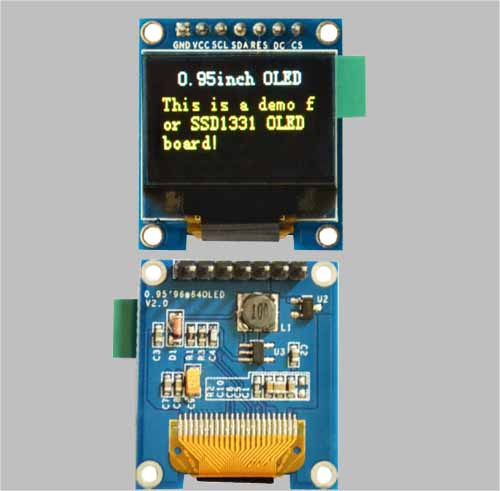 0.95 inch color oled display 7 Pin SSD1331 96X64 for Arduino MLD095-9664E