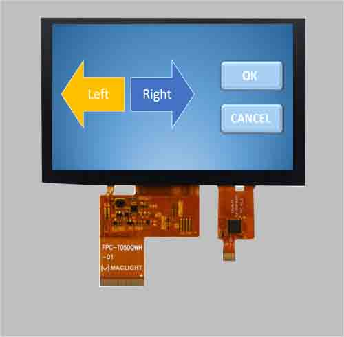 Capacitive touchscreen 5 inch tft lcd 800x480