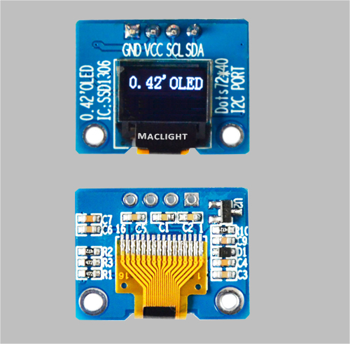 0.42 inch Arduino monochrome oled display module SSD1306 MLD042-7240D
