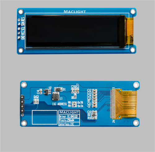 2.08 inch monochrome oled display module 256x64 dots I2C interface MLD208-25664D